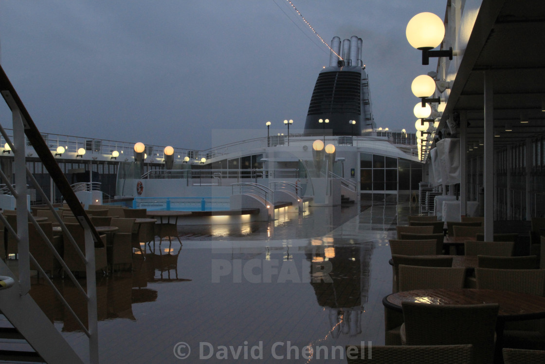 """MSC Opera Blue Hour Reflection"" stock image"