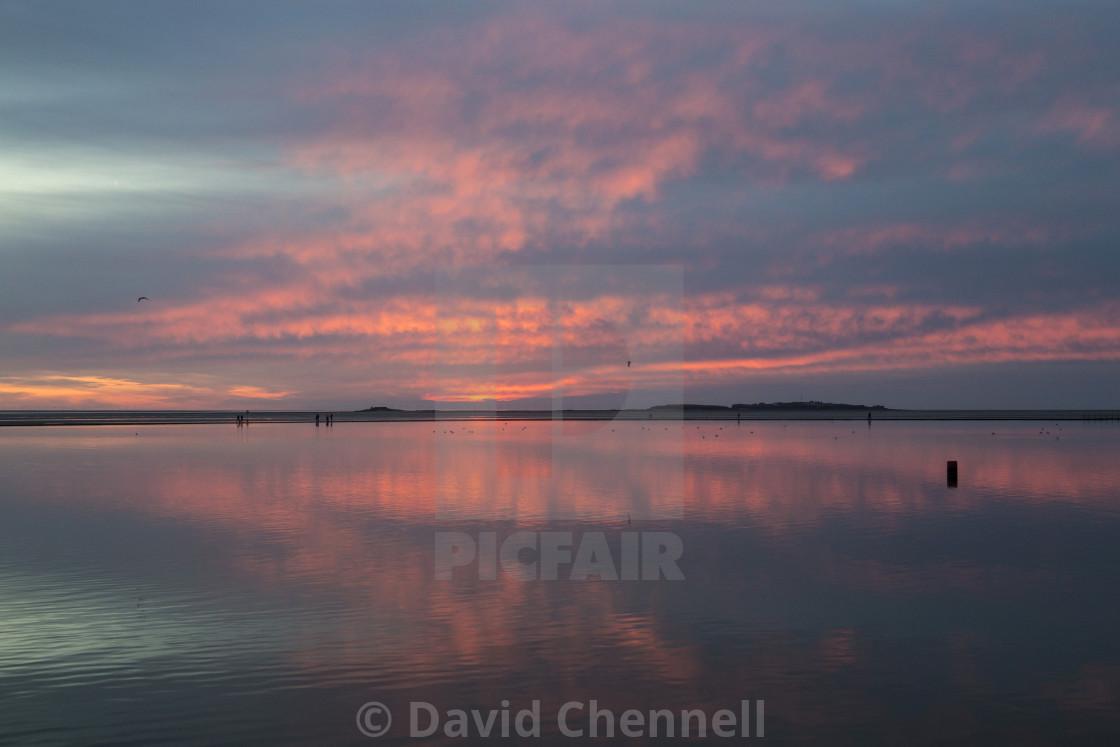 """West Kirby Sunset Reflection"" stock image"