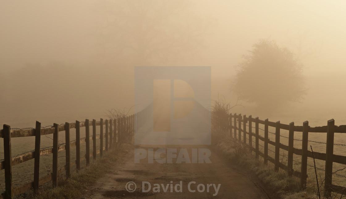 """Misty farm track."" stock image"