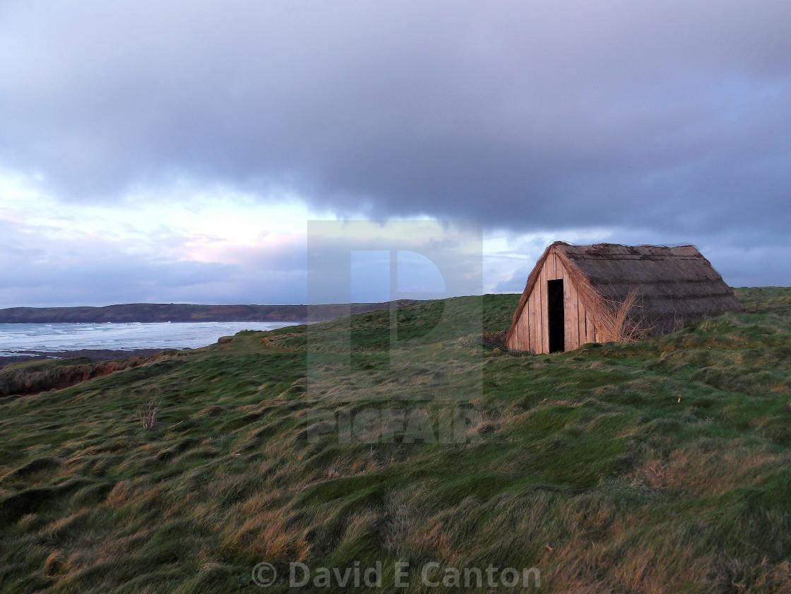 """Seaweed Hut at Freshwater West"" stock image"