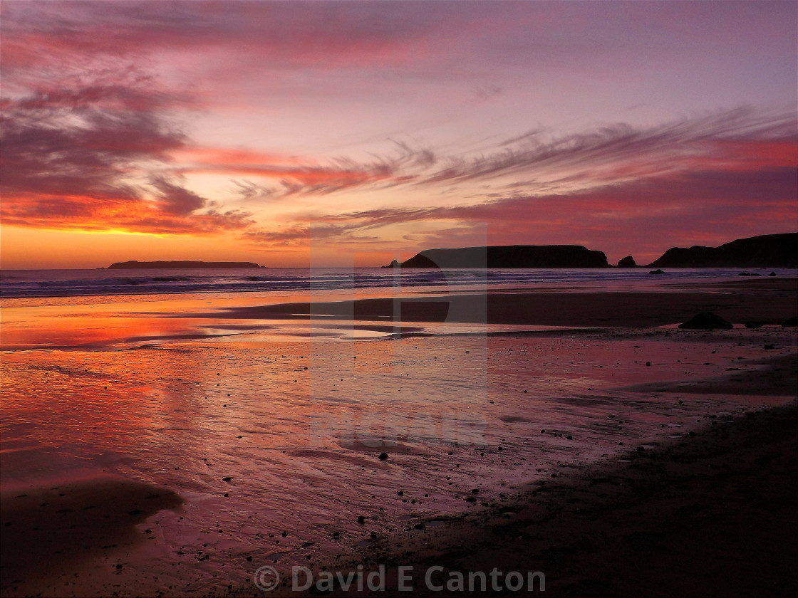 """""""Sunset over Marloes in Pembrokeshire"""" stock image"""