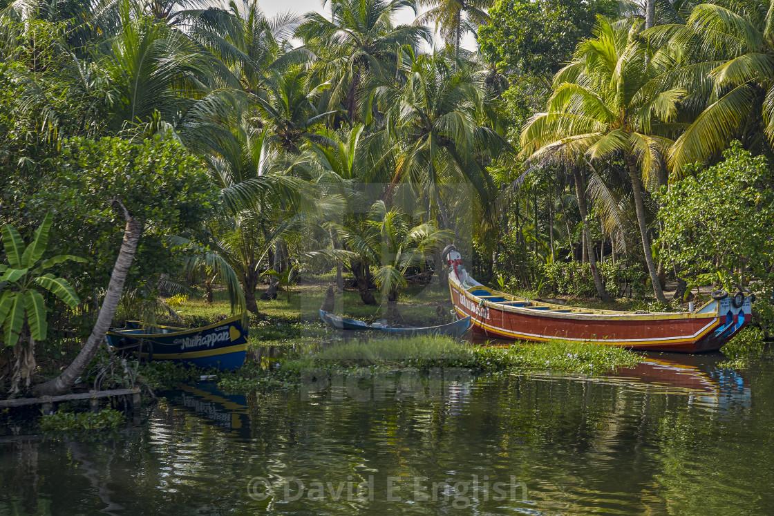 """Fishing boats docked on the shore of the Arabian Sea"" stock image"