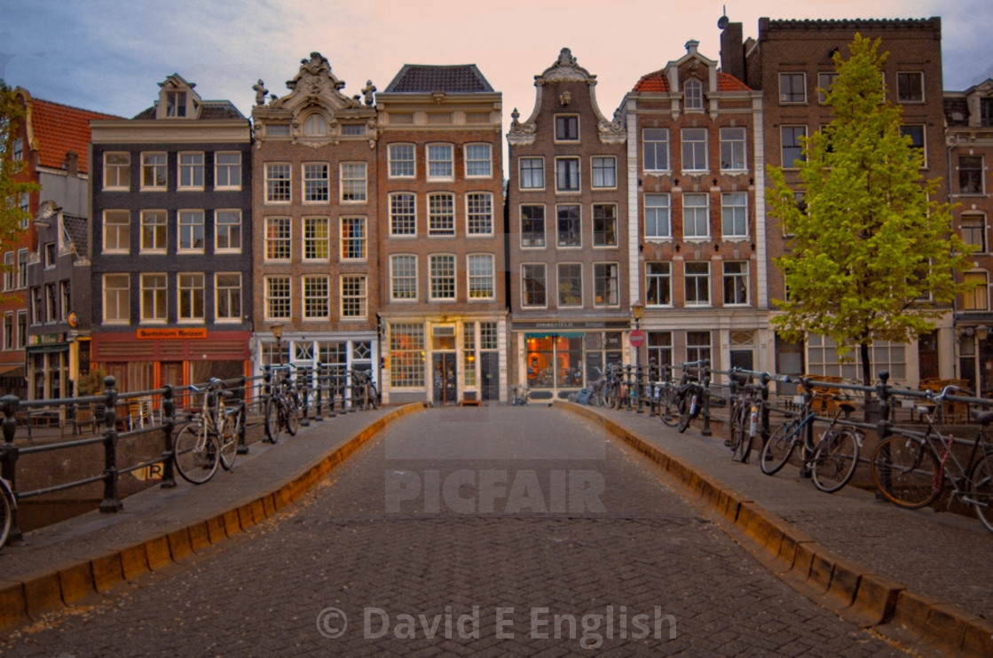 """""""A typical Amsterdam view of the old traditional buildings"""" stock image"""