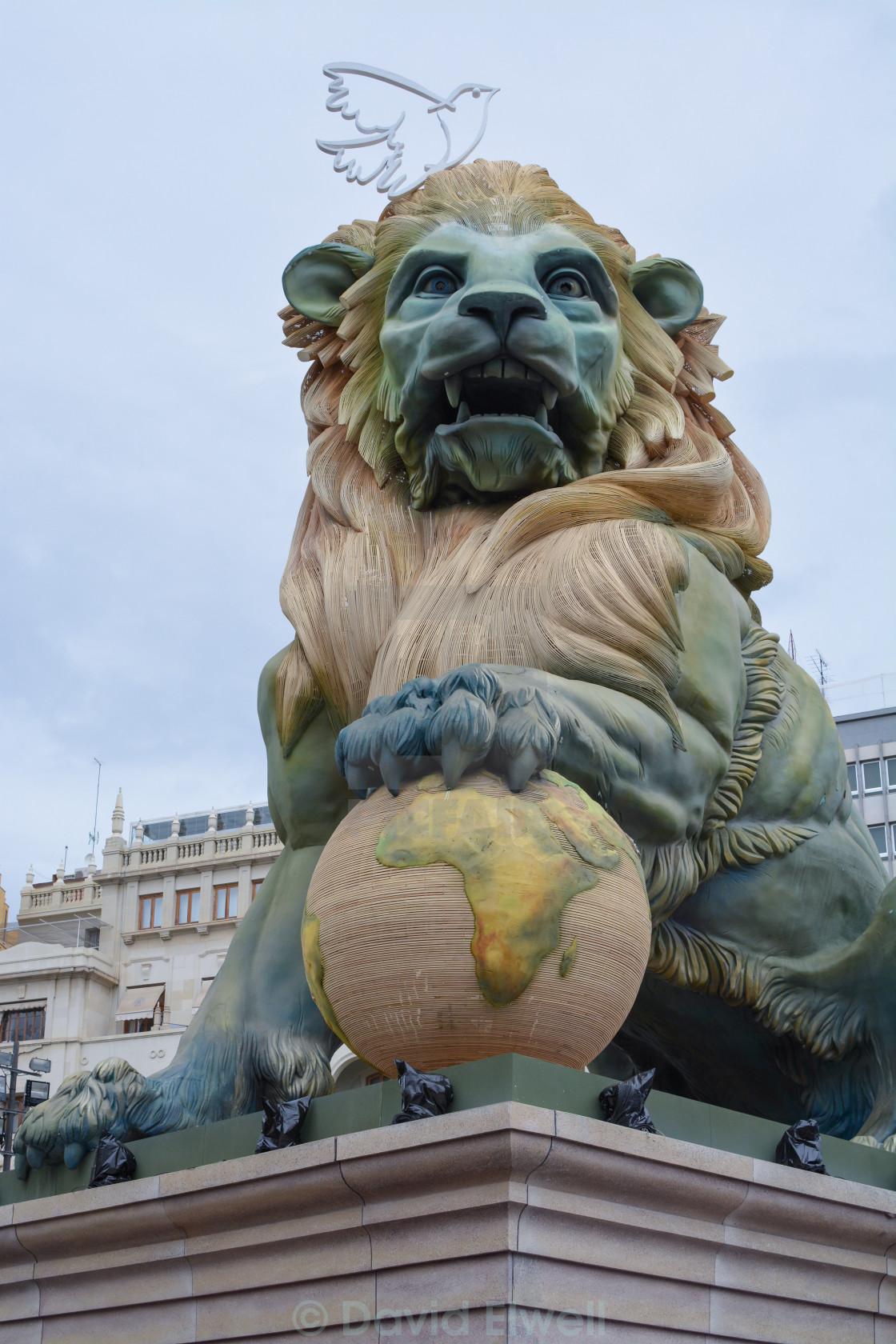 """Lion sculpture during Las Fallas, Valencia"" stock image"