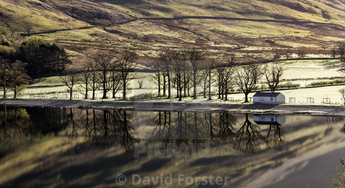 """""""Buttermere Lake Reflections, Lake District, Cumbria, UK."""" stock image"""