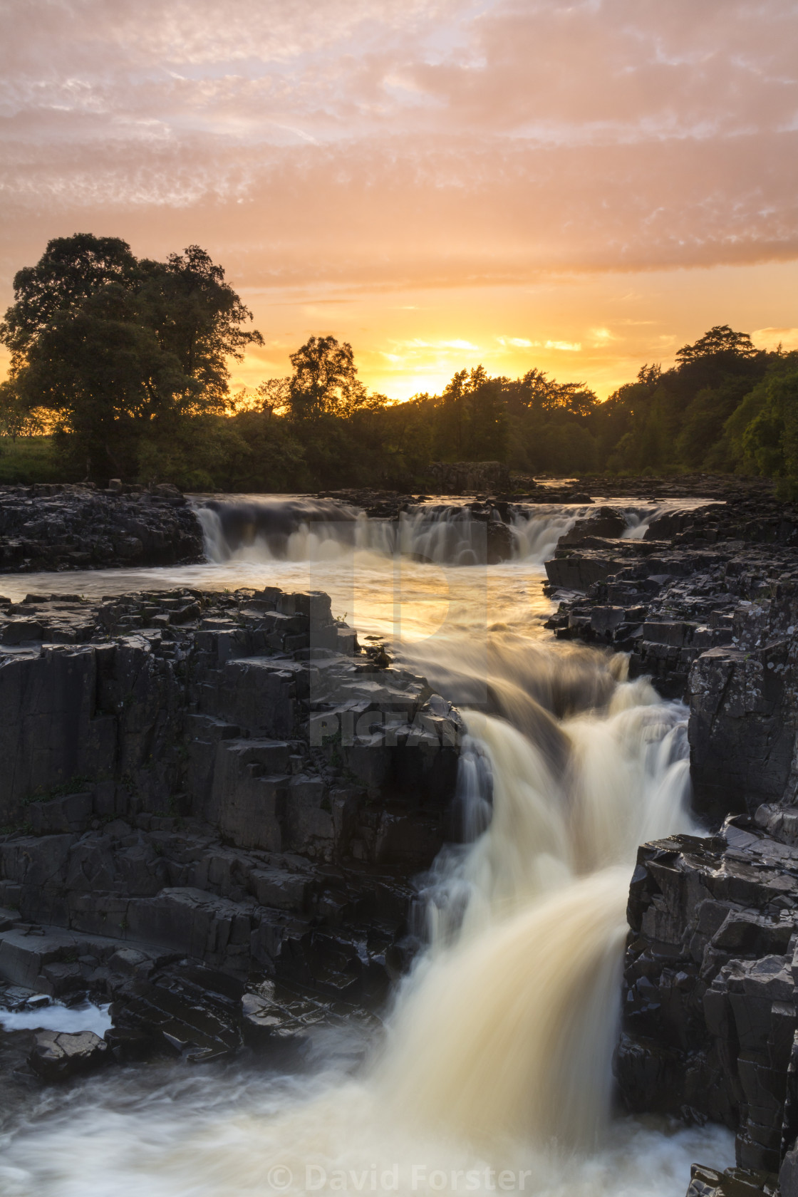 """""""Low Force Waterfall, Upper Teesdale, County Durham, UK"""" stock image"""