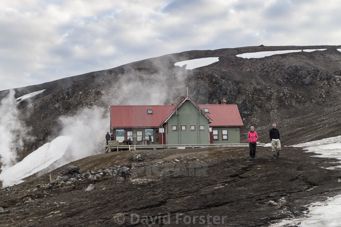 """The Höskuldsskáli Hut on Laugavegur Hiking Trail, Iceland"" stock image"