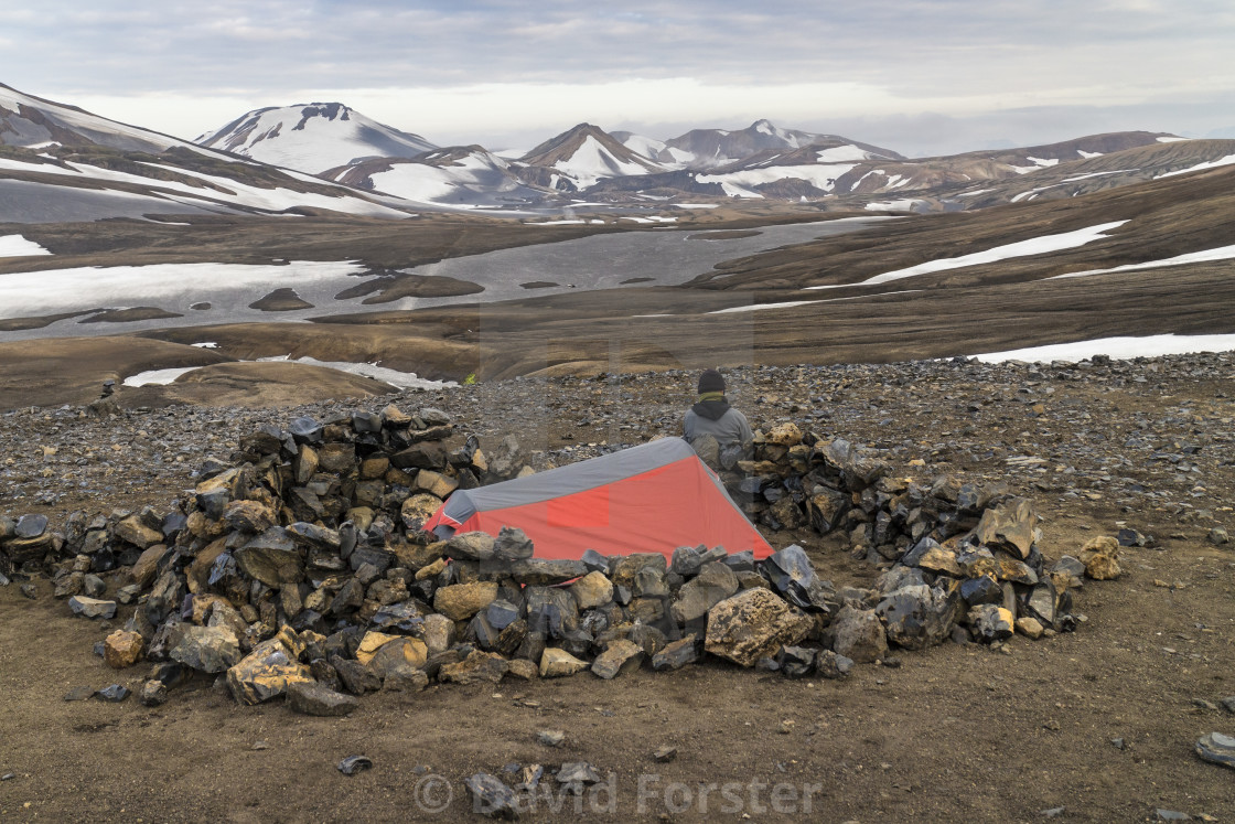 """""""Tent at the Camping Area of Hrafntinnusker, Iceland"""" stock image"""