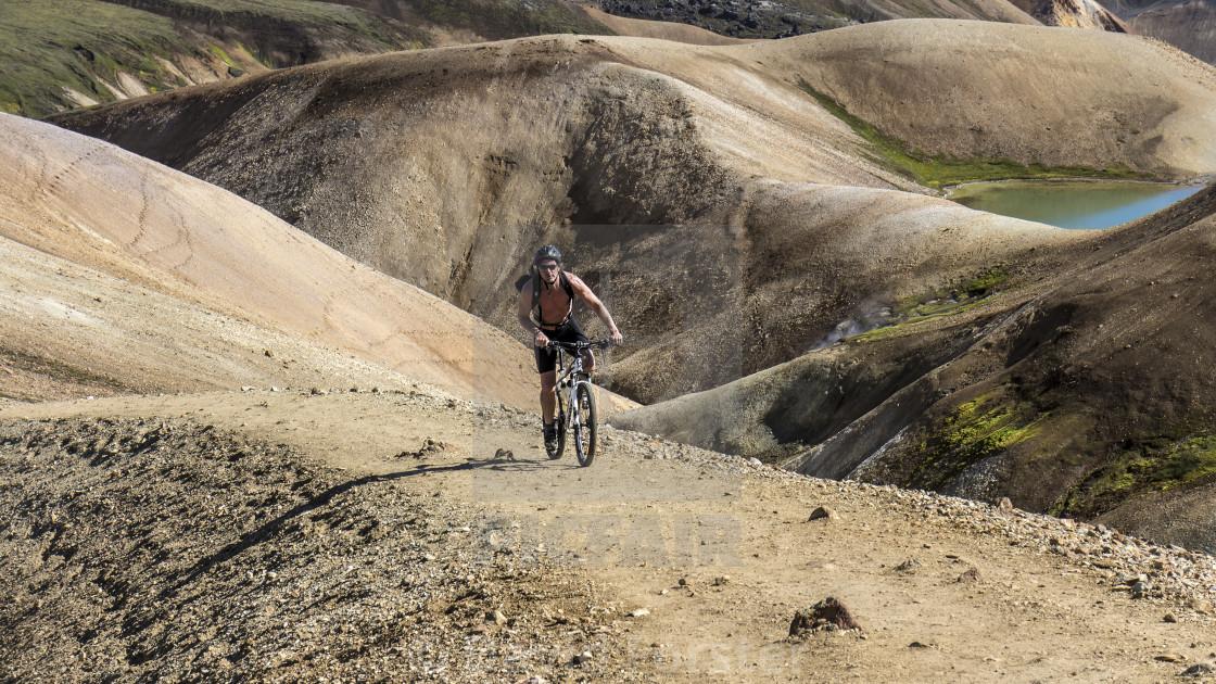 """Mountain Biking on the Laugavegur Trail near Landmannalaugar"" stock image"