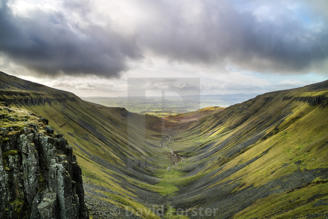 """High Cup Nick and the View South Towards the Eden Valley"" stock image"