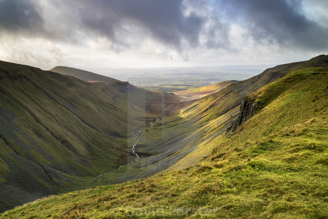 """""""High Cup Nick and the View South Towards the Eden Valley, North"""" stock image"""
