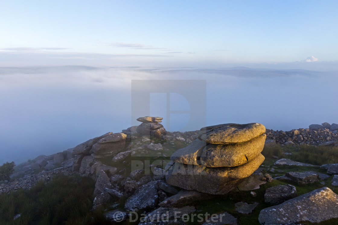 """""""A Mist Shrouded Stowe's Hill on Bodmin Moor, Cornwall, UK"""" stock image"""