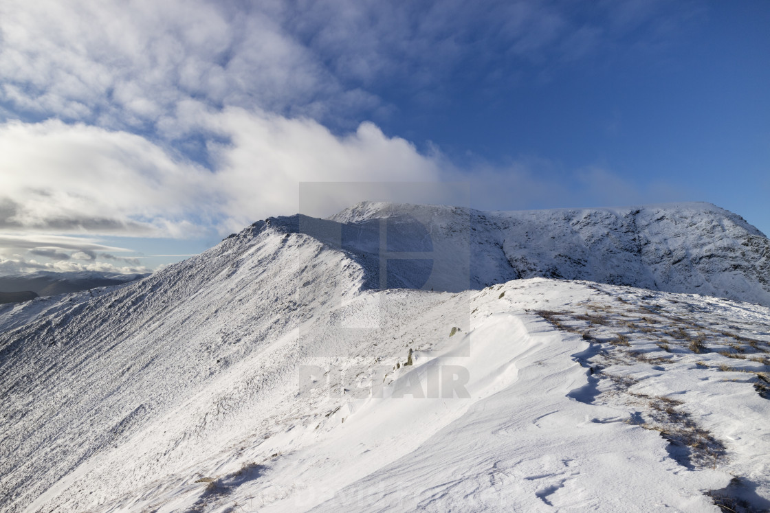 """The Summit of Blencathra Viewed from Scales Fell, Lake District,"" stock image"