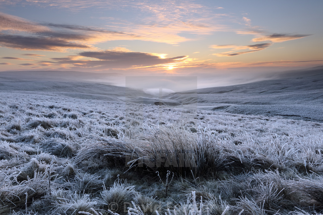 """""""A Frozen and Desolate North Pennines Landscape, Teesdale, County"""" stock image"""