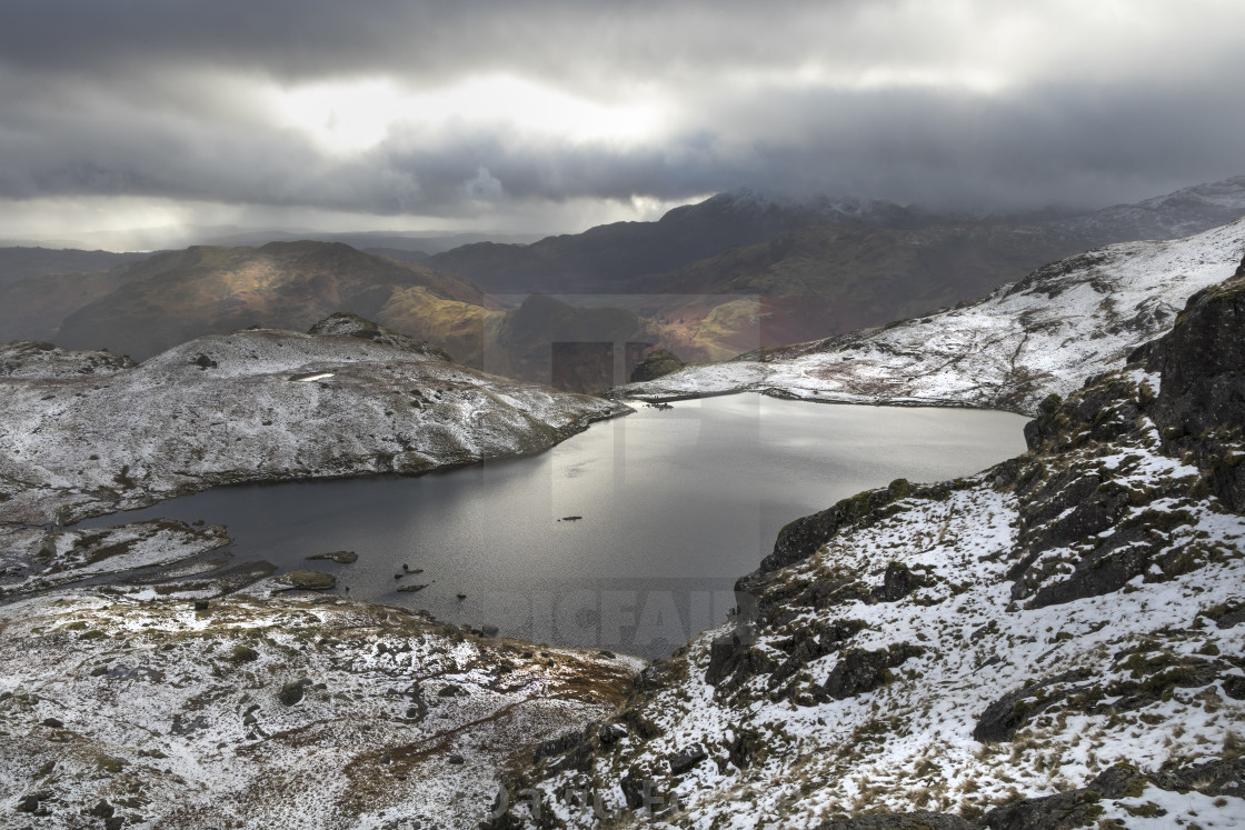 """""""Stickle Tarn Viewed from Pavey Ark, Lake District, Cumbria"""" stock image"""