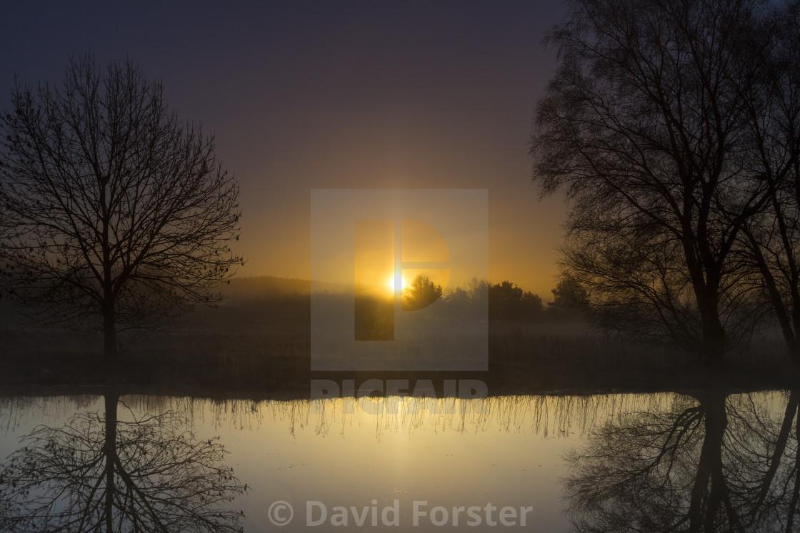 """Sun Pillar at Sunrise, Teesdale County Durham, UK"" stock image"