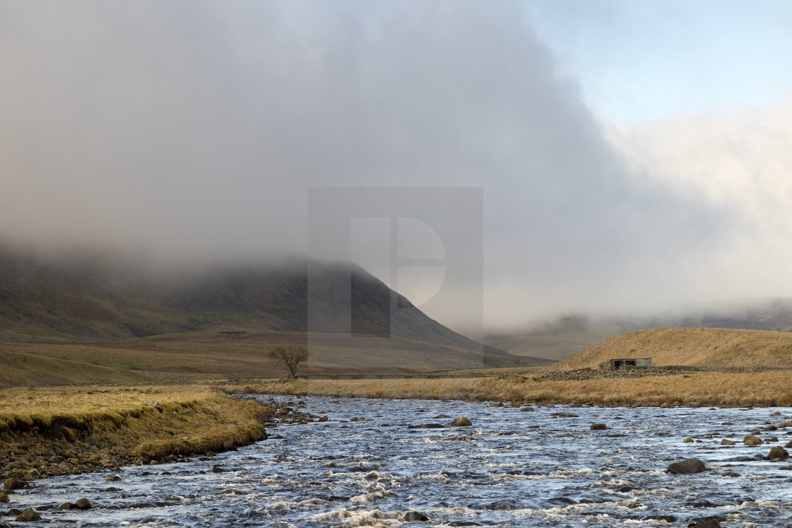 """Cronkley Fell and the River Tees, Forest in Teesdale,"" stock image"