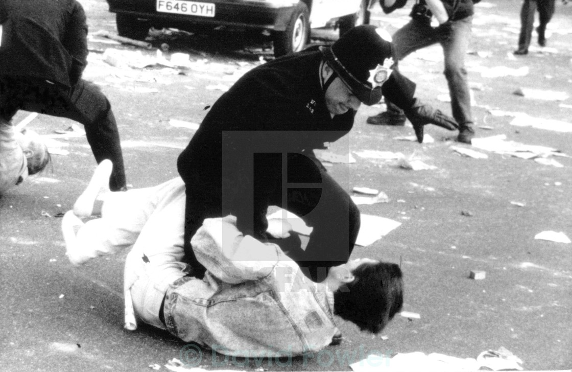 """Poll Tax Riots, London"" stock image"