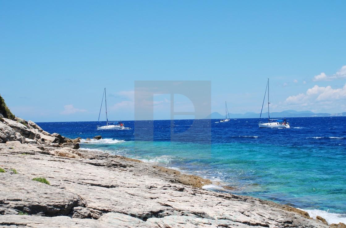 """""""Sailing boats, Paxos"""" stock image"""