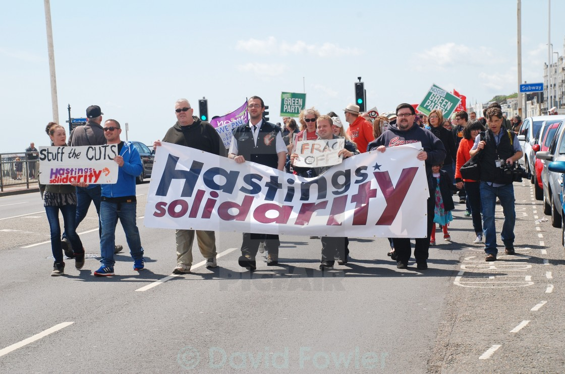 """""""March against Austerity, Hastings"""" stock image"""