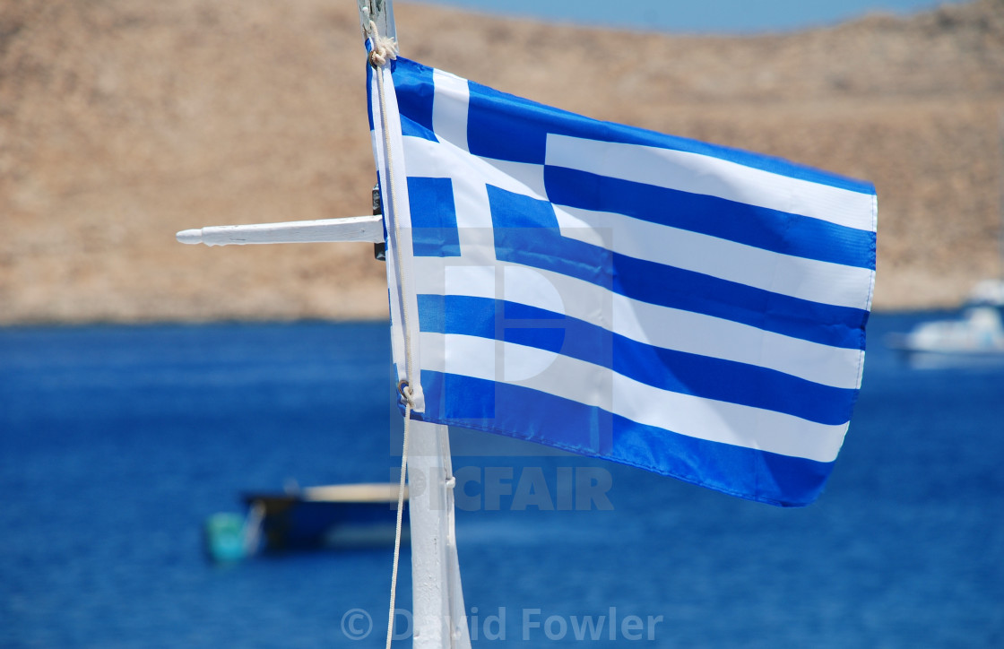 """Greek National flag, Halki"" stock image"