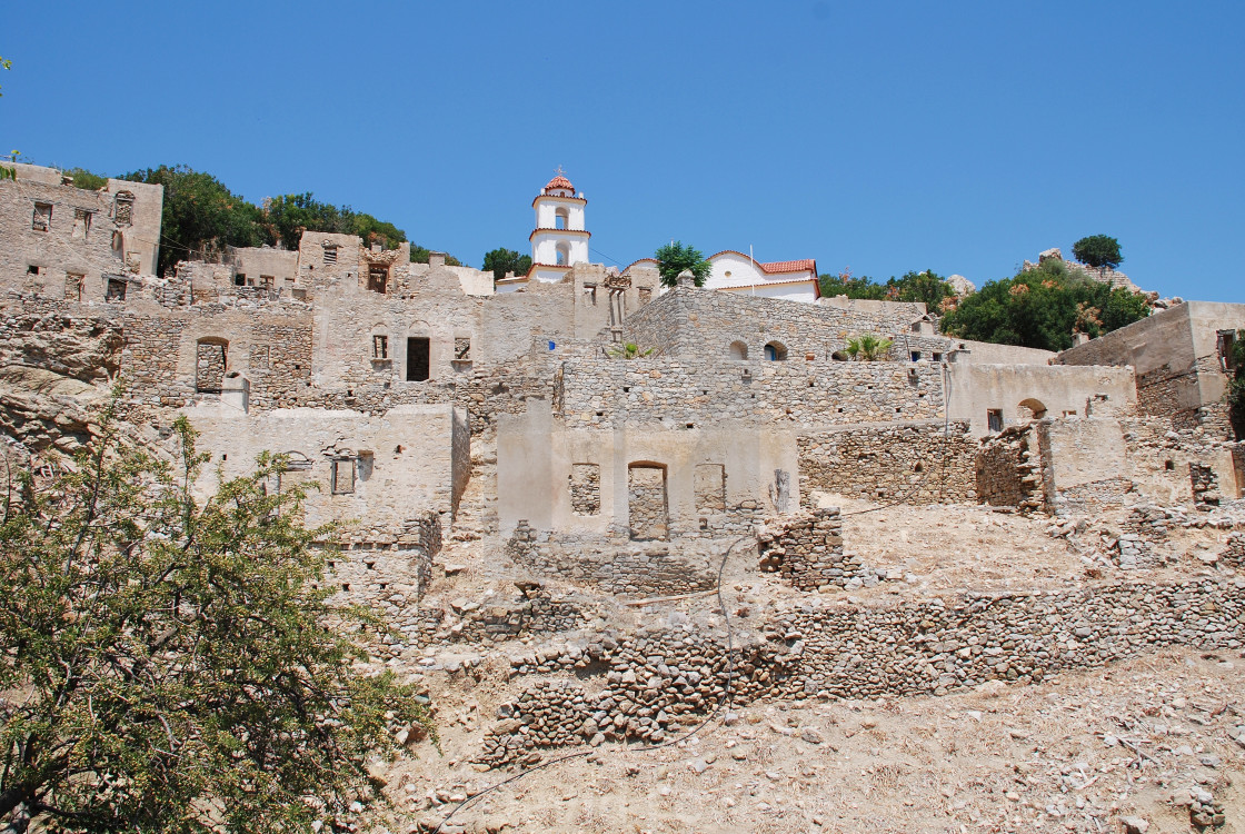 """Ruined village, Tilos"" stock image"