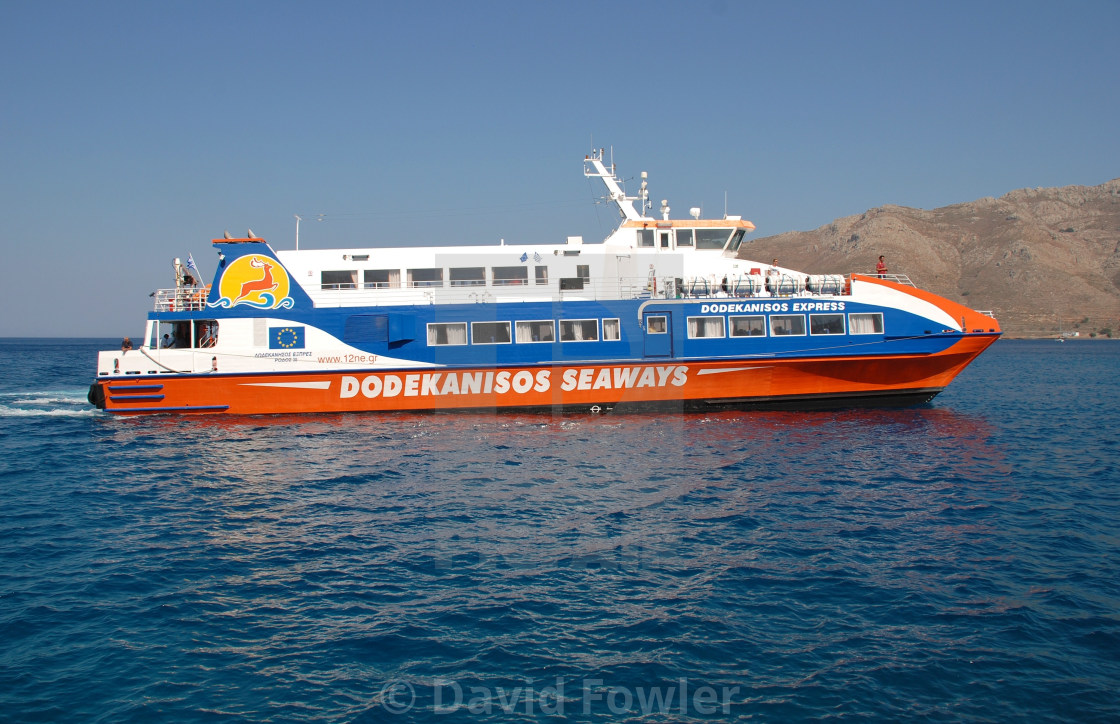 """Catamaran ferry, Tilos"" stock image"