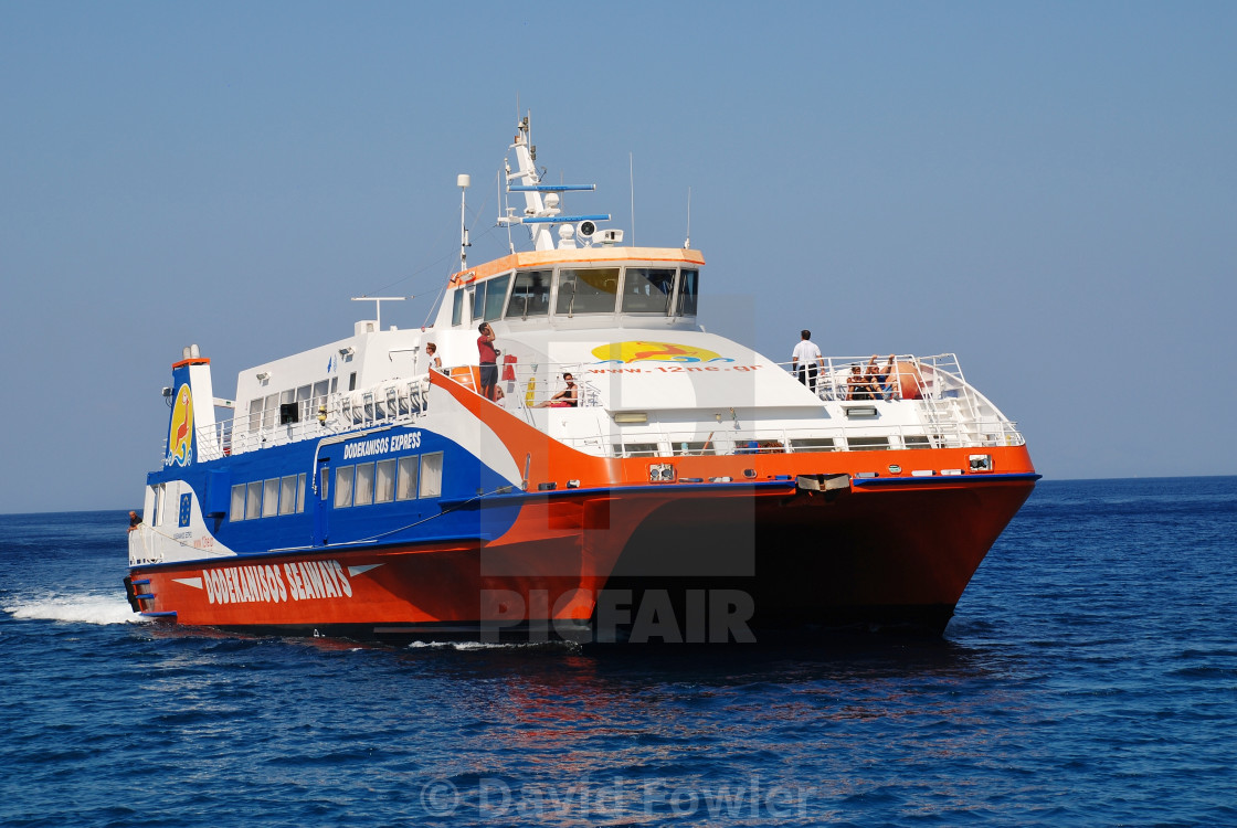 """Catamaran ferry boat, Tilos"" stock image"