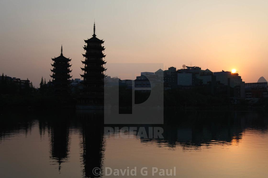 """Pagoda sunset"" stock image"