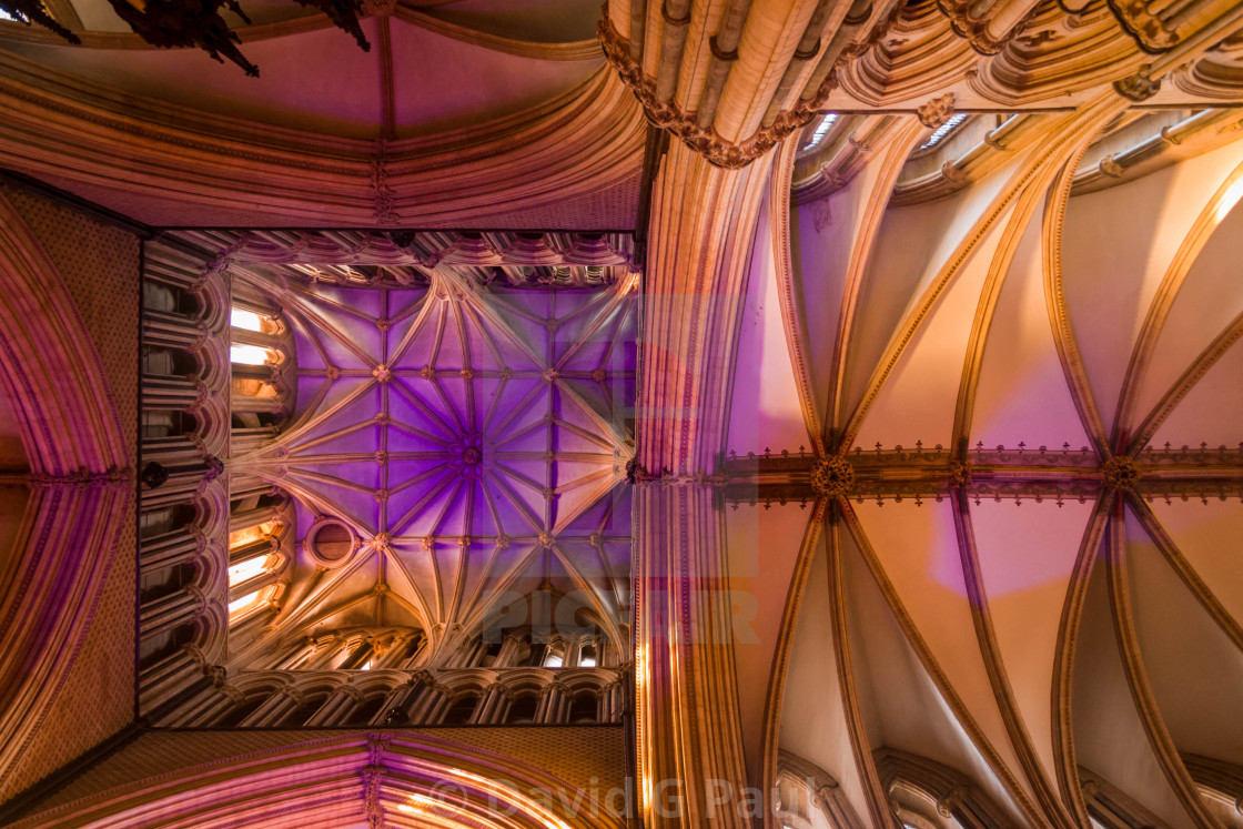 """""""Cathedral roof lit up"""" stock image"""