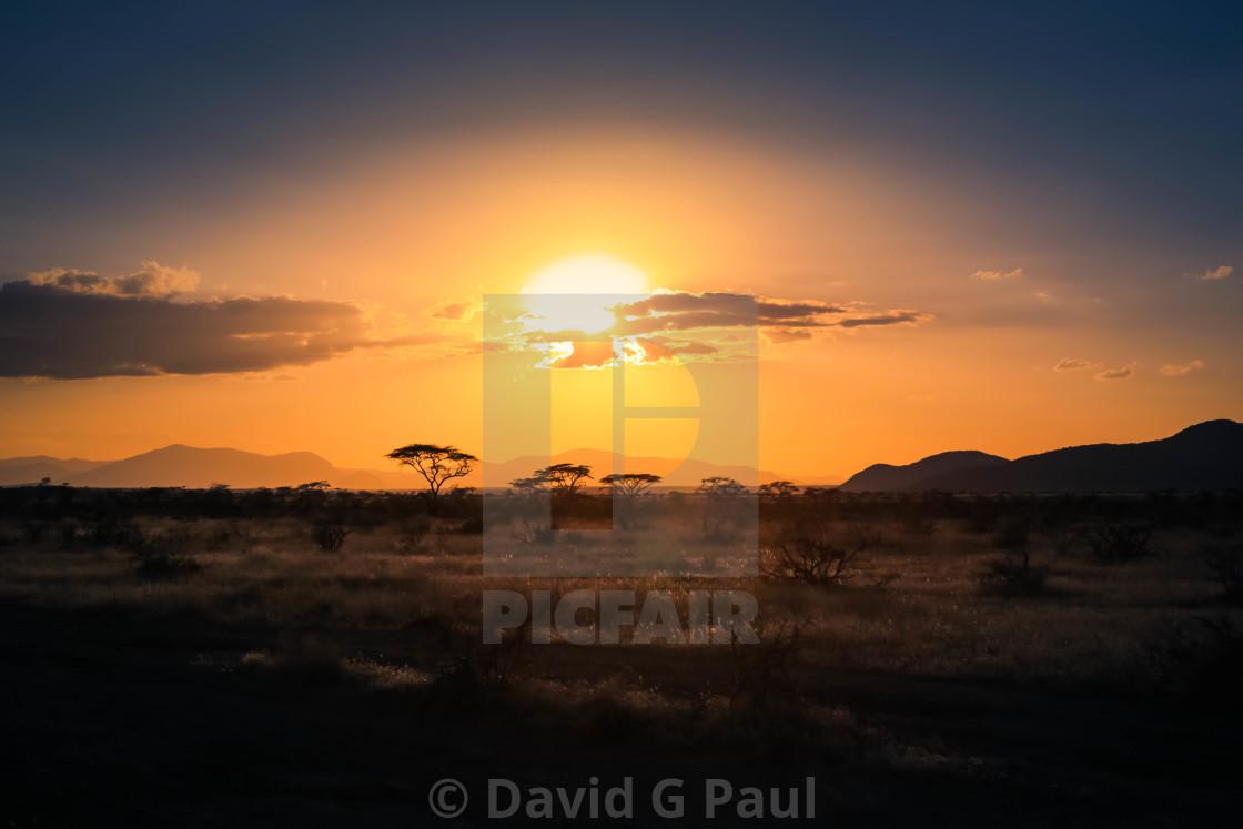 """""""Samburu Sunset"""" stock image"""