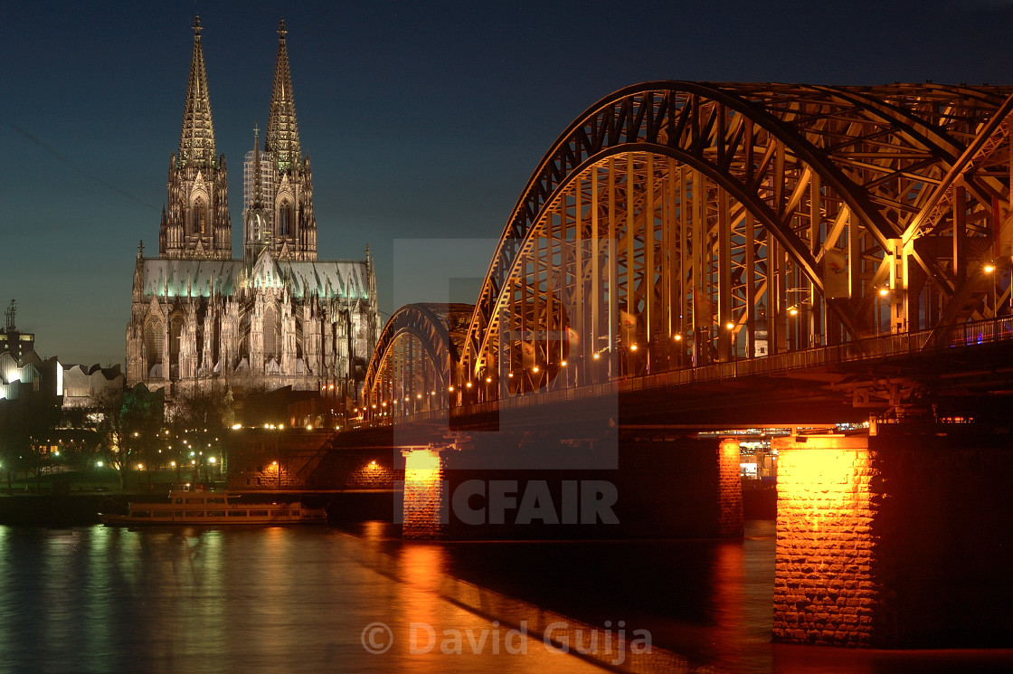"""Night over Cologne"" stock image"