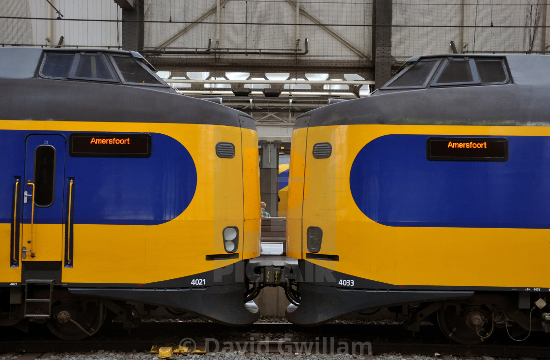 """Kissing trains"" stock image"