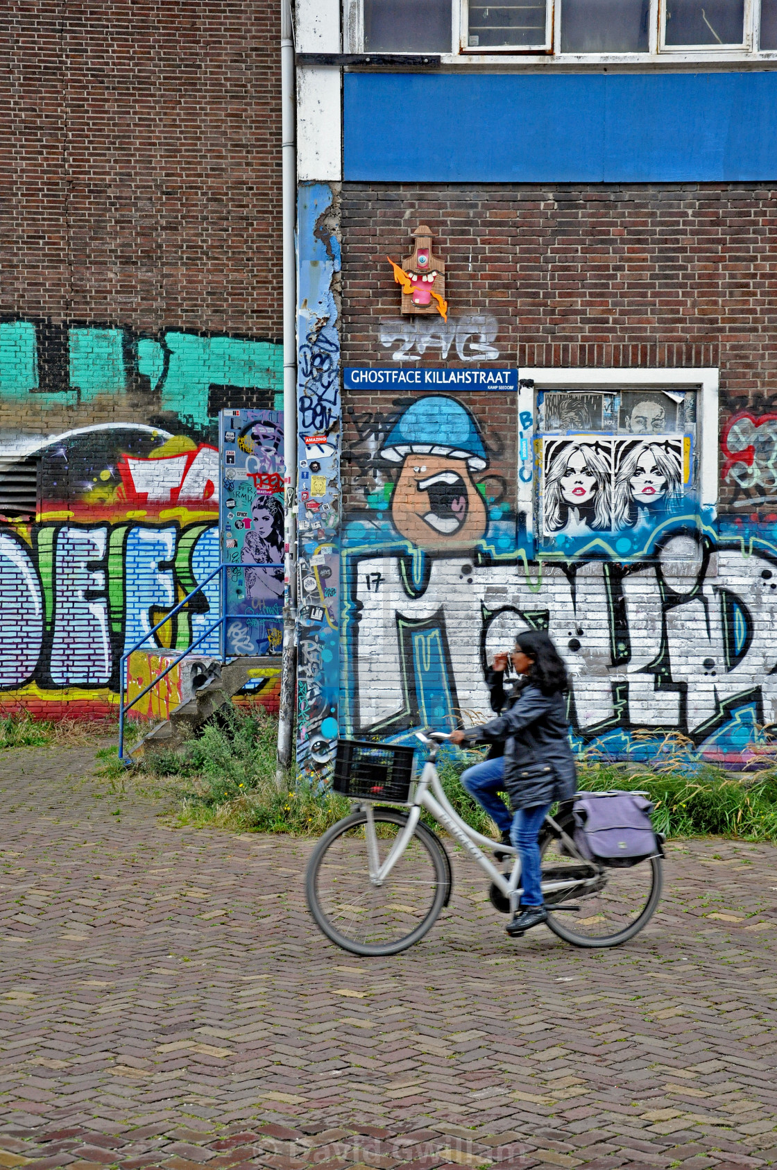 """Street art cyclist 1"" stock image"