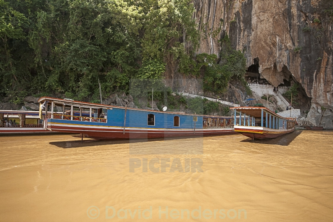 """Boats On The Mekong River , Laos"" stock image"