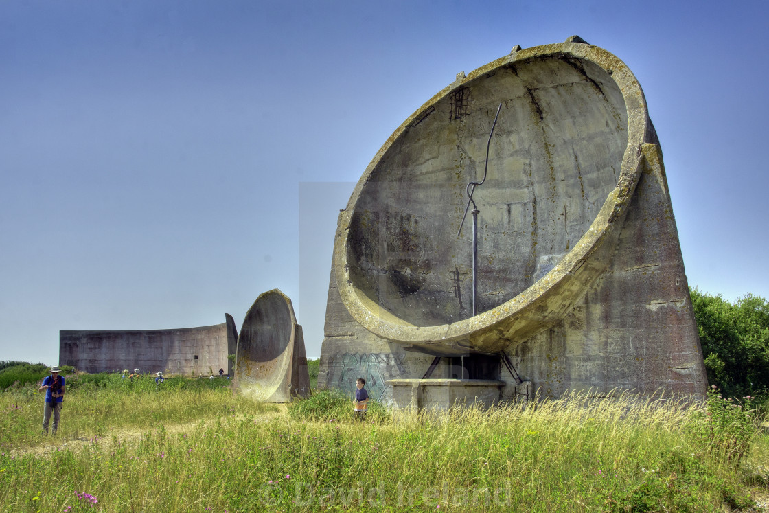 """""""Sound Mirrors, Dungeness, Kent"""" stock image"""