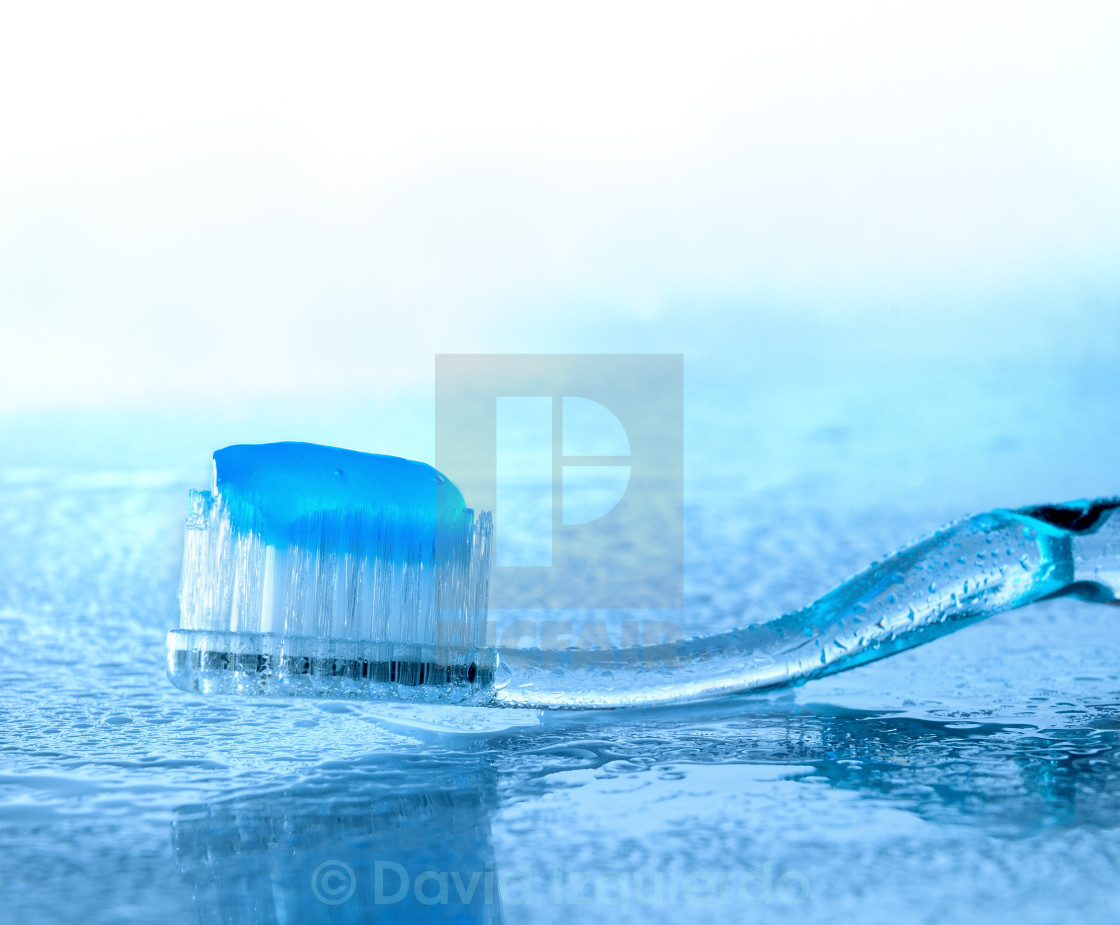 """""""toothbrush with paste on wet glass"""" stock image"""