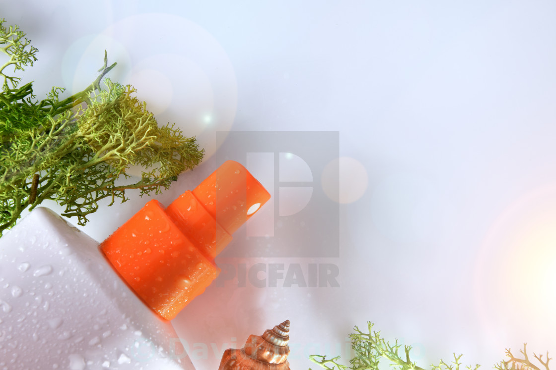 """""""Two sunscreen spray with seaweed top view close up"""" stock image"""