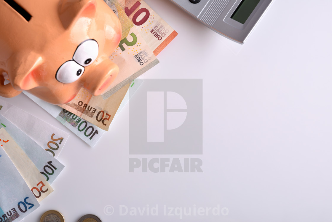 """""""Concept savings and accounting with piggy bank money calculator top"""" stock image"""