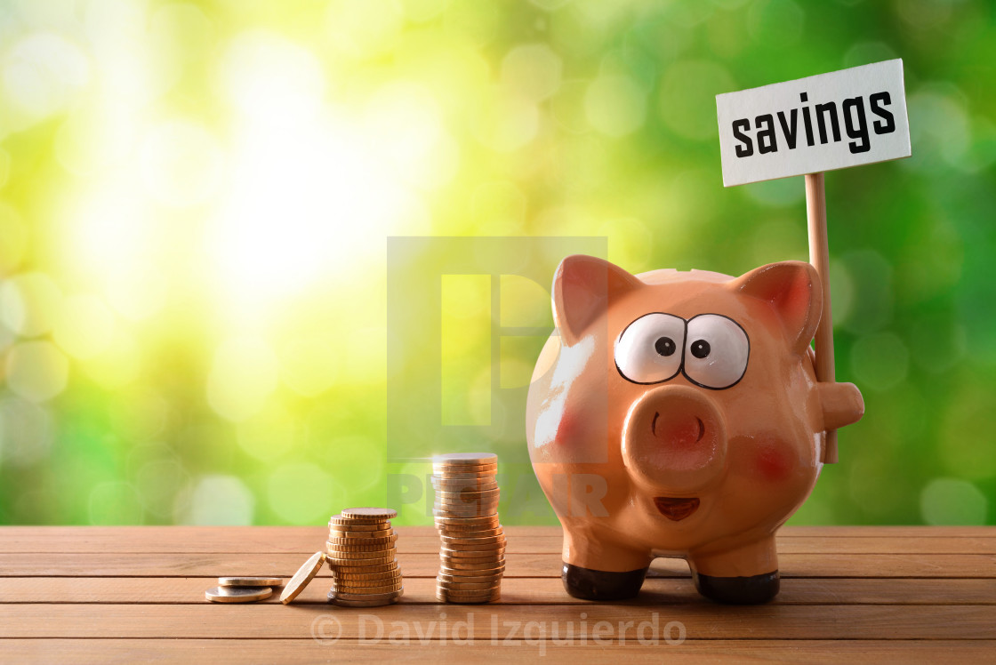 """""""Piggy bank with savings billboard on table and nature background"""" stock image"""