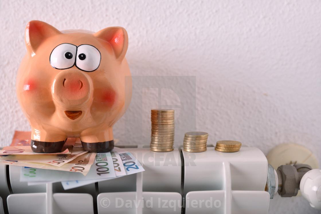 """Savings and economy heating with radiator piggy bank and money"" stock image"