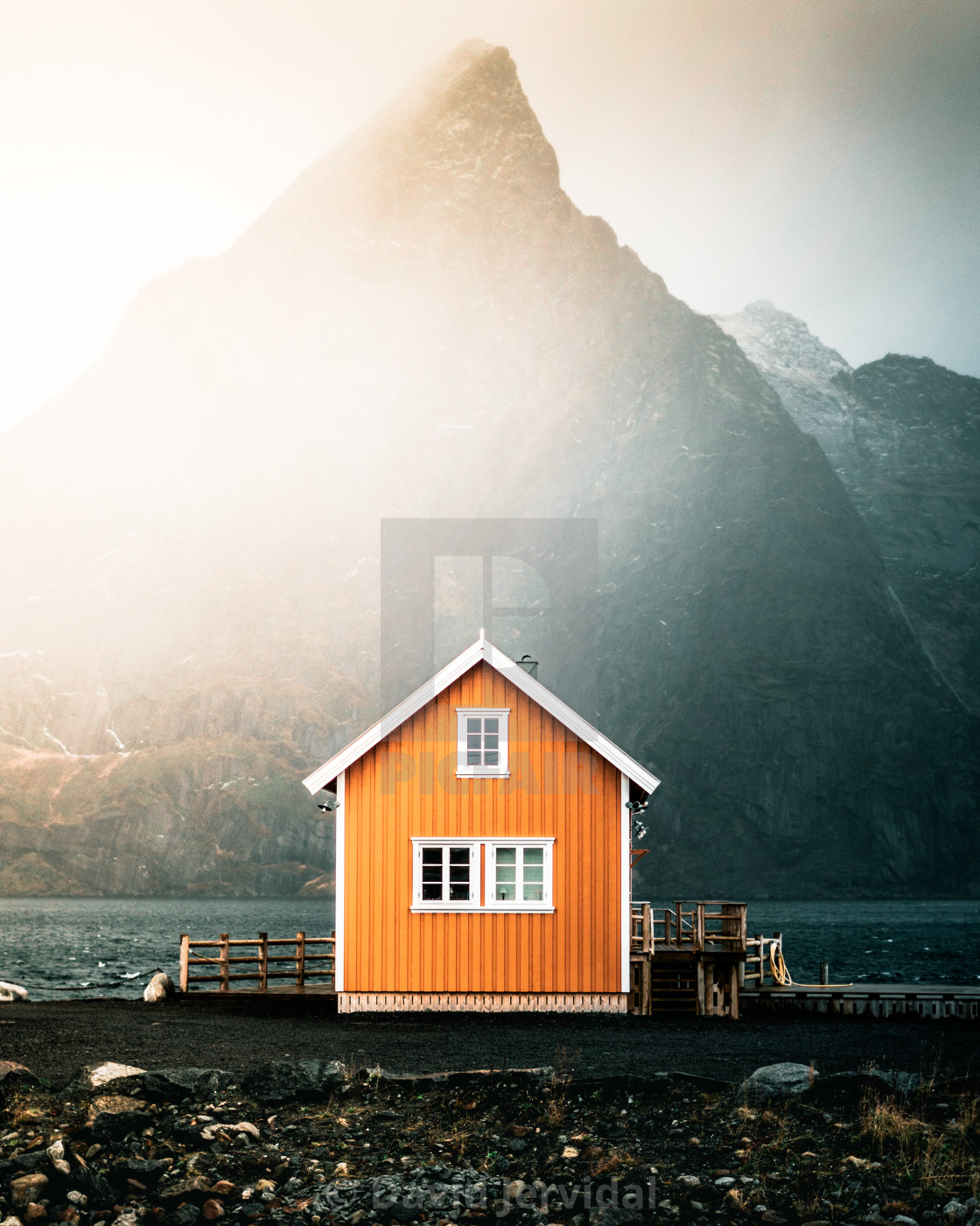 """Yellow lonely house"" stock image"
