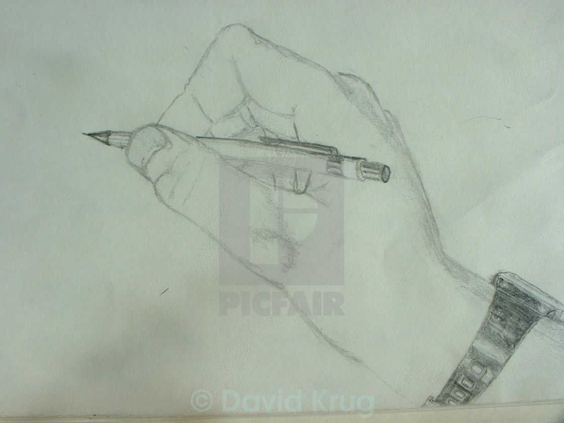 """""""Drawing of a hand drawing... What?"""" stock image"""