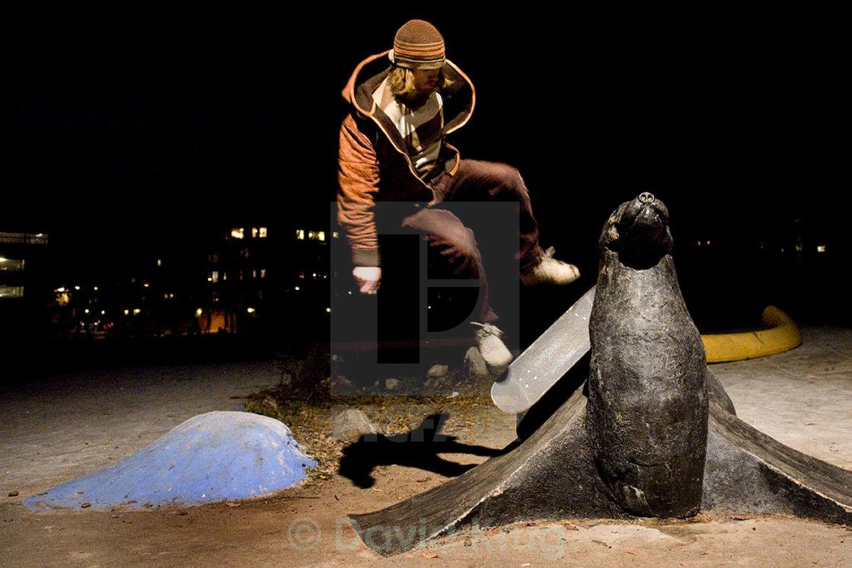"""Skateboard on seal sculpture"" stock image"