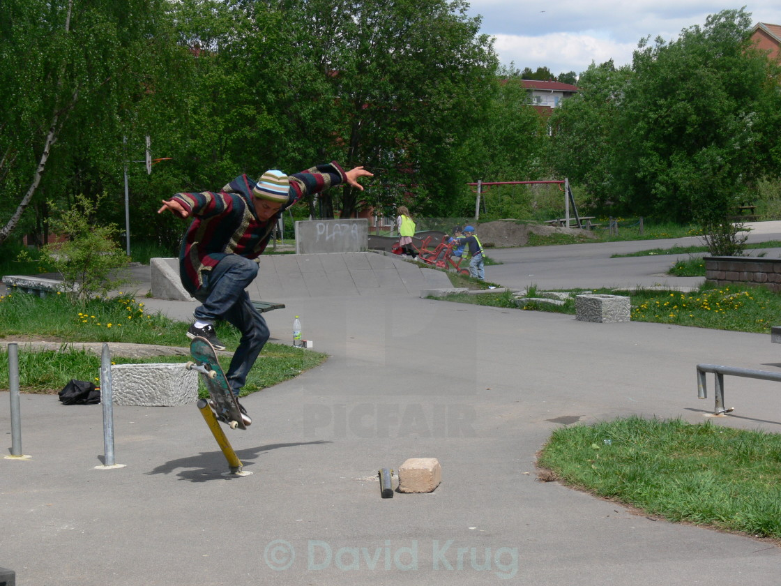 """Skateboarding, pole jam"" stock image"