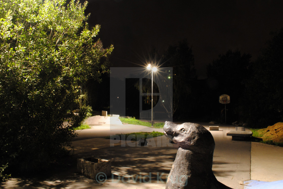 """""""Seal sculpture, park by night"""" stock image"""