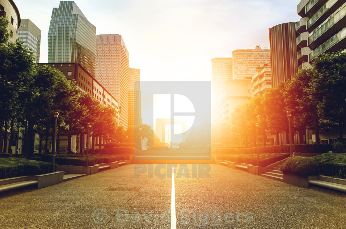 """Sunset at the Grande Arche"" stock image"