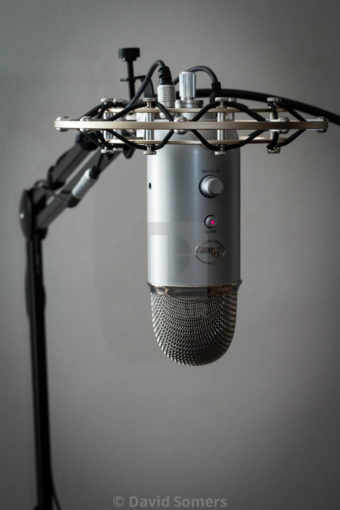 A Blue Yeti Microphone with shock mount and boom - License