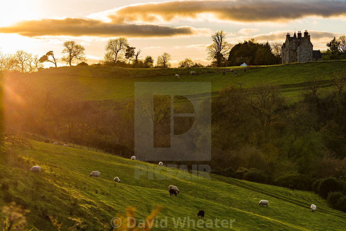 """Illieston Castle and Farm, Broxburn, West Lothian, Scotland"" stock image"