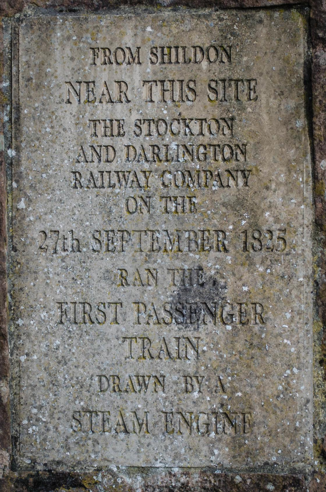"""Stockton and Darlington Railway - Historic Marker"" stock image"